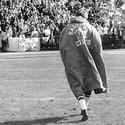 John Unitas walks off the field at Memorial Stadium