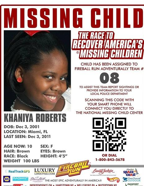 Missing child poster for Khaniya Roberts, 10, kidnapped by her mom Darline Souffrant in 2011. Mom and child were found in December 2012 in the Dominican Republic and returned to the U.S.