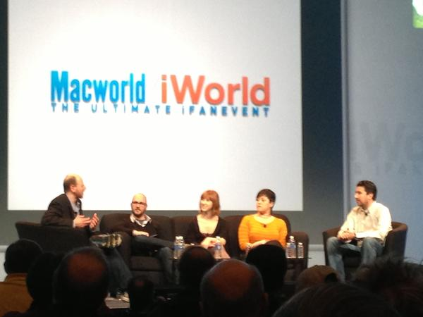 Macworld panel from left to right: moderator Dan Moren and panelists Ryan Block, Christina Bonnington, Jacqui Cheng and John Gruber.