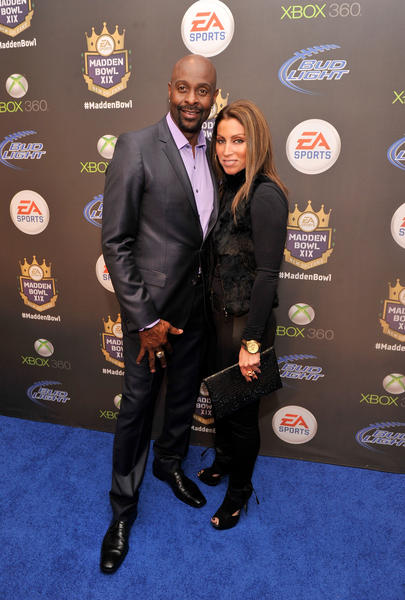 Former NFL player Jerry Rice and Latisha Pelayo arrive at EA Sports' Madden Bowl XIX at the Bud Light Hotel in New Orleans.