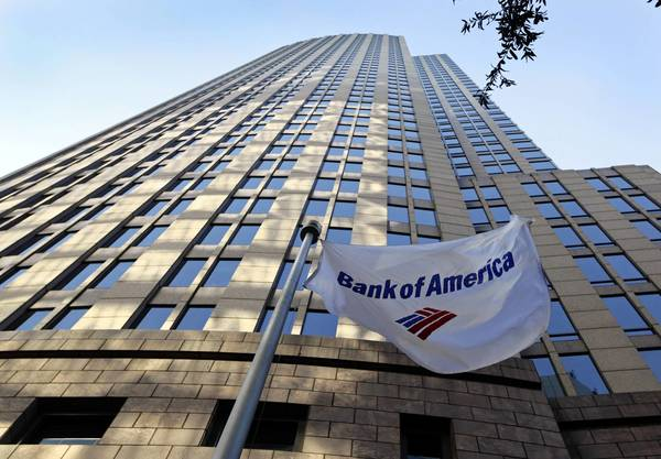 A flag flies in front of Bank of America's corporate headquarters in Charlotte, N.C. The company scrambled to restore service late Friday to its enormous customer base — 40 million households — which spent most of the day without access to online, mobile and telephone banking services.