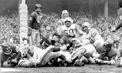 Sun archives: Baltimore Colts photos - Ameche scores a touchdown