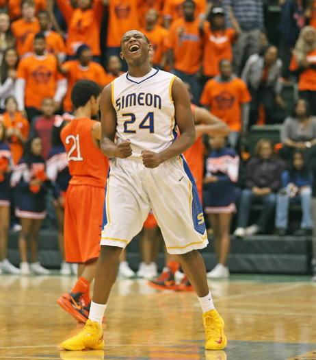 Simeon's Kendall Pollard celebrates after his team's victory against Young last week.