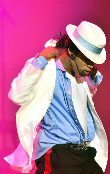 Taallb York sings as Michael Jackson in the Who's Bad Michael Jackson tribute band Friday at the Maryland Theater in Hagerstown.
