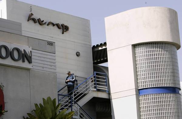 The exterior of the Hump sushi restaurant, located at the Santa Monica Airport. Its parent company, Typhoon Restaurant Inc., is located one floor below. The owner and two former chefs have been charged with conspiracy to import and sell sei whale meat, a violation of the Marine Mammal Protection Act.