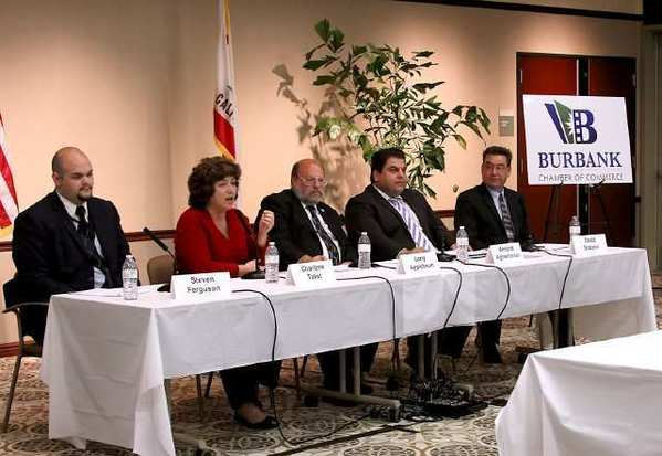 The five candidates running for a seat on the Burbank School Board answered questions to a packed Buena Vista Library audience.
