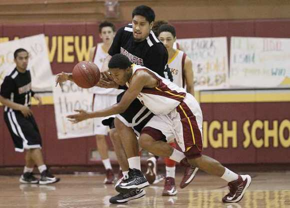 Ocean View's Kendall Small steals the ball from Westminster's Myron Aiava during a Golden West League game on Friday.