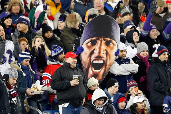 A giant image of Ray Lewis in the stands at Foxboro for the AFC championship game: the face of a franchise and maybe a city.