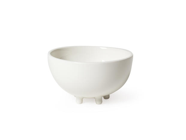"Designer Maarten Baas' Haphazard Harmony table top collection includes this porcelain footed bowl, available through <a href=""http://www.droog.com/store/tableware/hh---bowl/"">Droog</a>."