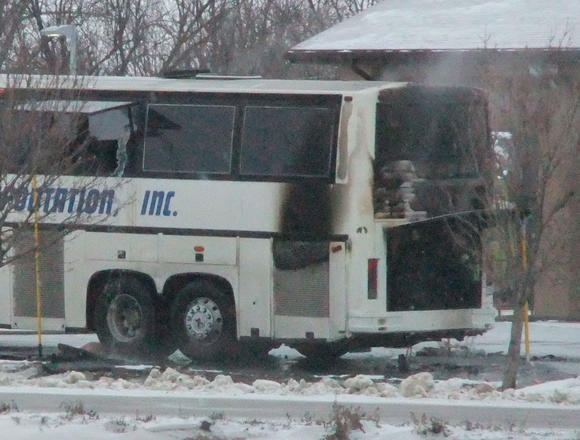 Fire Destroys Scooper  Bus