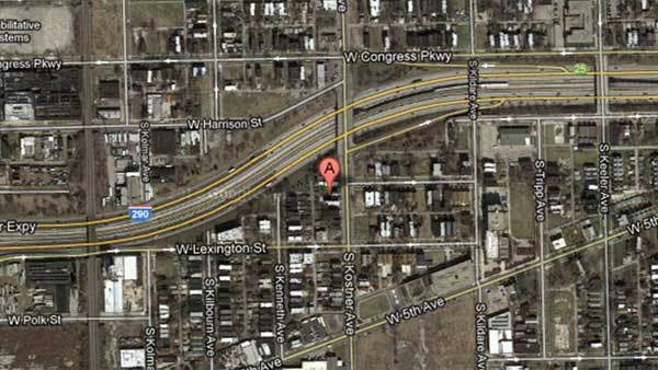Satellite map view of 700 block of South Kostner Avenue.