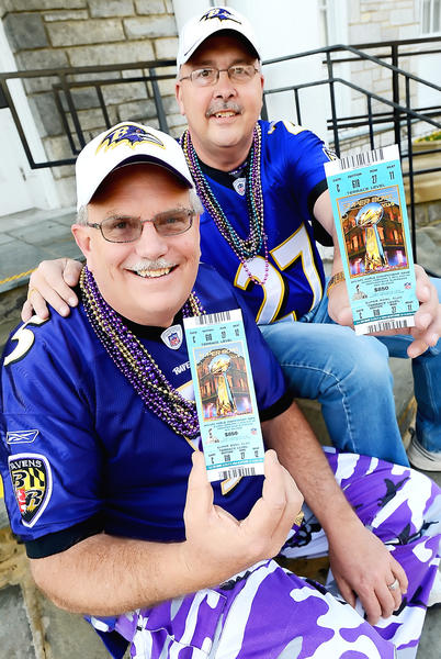 Mark Crilly, left, and his brother-in-law Donnie Stotelmyer are headed for New Orleans to watch the Baltimorre Ravens play the San Francisco 49ers at Super Bowl XLVII in New Orleans.