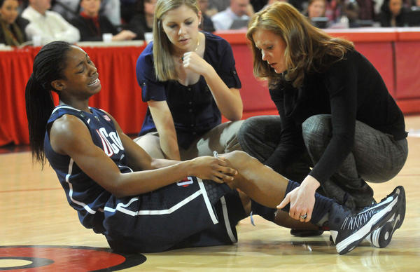 UConn's Briana Banks suffered a sprained knee at Carnesecca Arena Saturday afternoon.