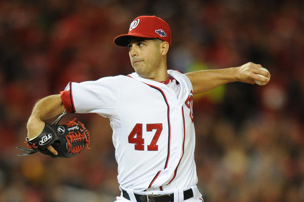 Nationals starting pitcher Gio Gonzalez pitches against the Cardinals during the NLDS.