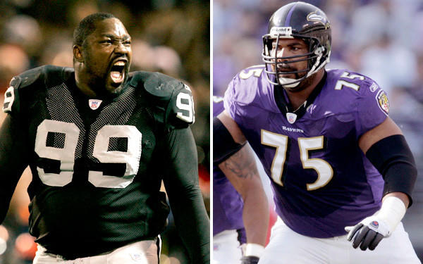 Defensive tackle Warren Sapp (99) and offensive tackle Jonathan Ogden (75) head the 2013 Hall of Fame class.