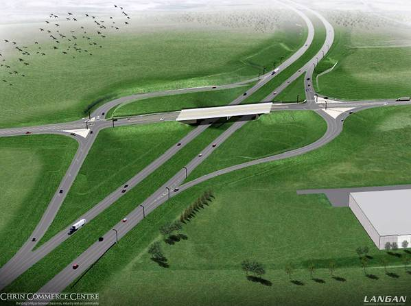 This is a rendering for the new Route 33 interchange at the Porsche Logistics Service facility in Palmer Twp.