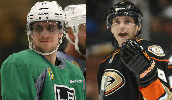 Kings forward Anze Kopitar, left, and Ducks forward Bobby Ryan played on the same line for a second-division Swedish team during the recent NHL lockout.