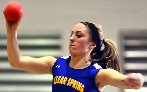 Clear Spring's Sarah Elwood won the girls shot put Saturday at the Maryland Class 1A West Indoor Track & Field Championships at Hagerstown Community College.