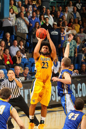 Mike Wilder (23) hit the game-winning three-pointer for UC Irvine against UC Santa Barbara.