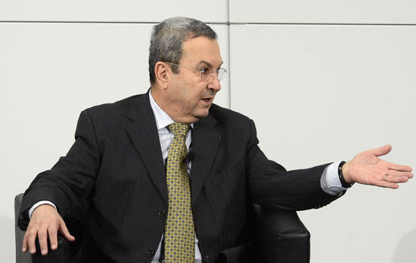 Israel's Deputy Prime Minister and Minister of Defence Ehud Barak gestures during a podium discussion on the third day of the 49th Munich Security Conference.