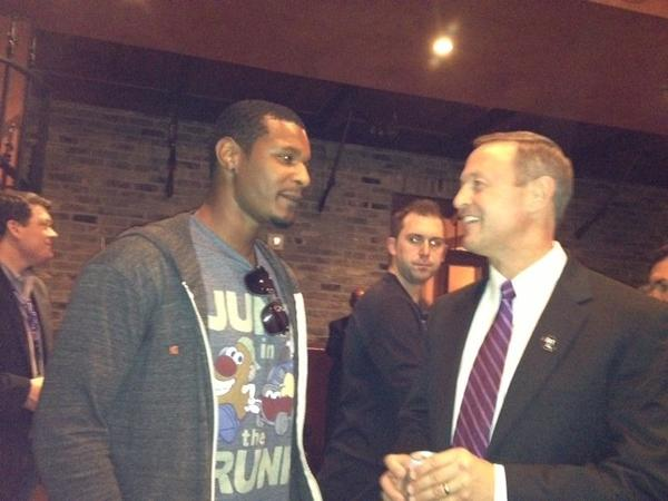 "Oriole Adam Jones chats with Maryland Gov. Martin O'Malley as the Downtown Partnership hosted a party for the considerable Maryland contingent in town to cheer on the Ravens against the San Francisco 49ers.<br> <br> <i>Says O'Malley: ""It's really exciting and it's really thrilling and it's also such a tremendous experience to see all of Baltimore here. We must outnumber San Francisco five to one. This is the second time I've been able to attend the Super Bowl, and it's just such a great way of bringing people together across all races, all classes. We're all Baltimore, we're all purple."""