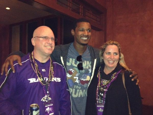 Oriole Adam Jones attends the party at Patrick O'Brien's in the Jackson Brewery Building along with Skip Cerf, director of operations of Baltimore Marriott Inner Harbor at Camden Yards, and wife Erin Cerf.