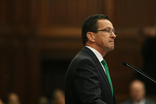 Governor Dannel Malloy gets choked up while talking about Newtown to a join session of the General Assembly on the opening day of the Legislative Session.