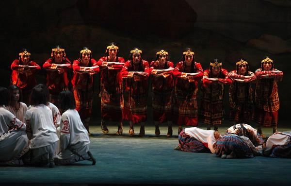 "Members of the Joffrey Ballet, playing the Maidens in Red, perform a scene during ""The Rite of Spring."""