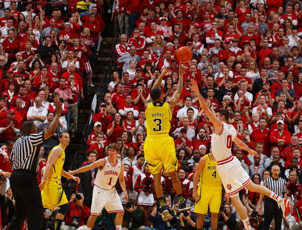 Michigan Wolverines vs. the Indiana Hoosiers. Indiana defeated Michigan 81-73.