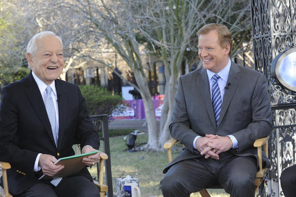 In this handout photo provided by CBS News, host Bob Schieffer sits with NFL Commissioner Roger Goodell during a broadcast of ''Face The Nation'' from New Orleans.