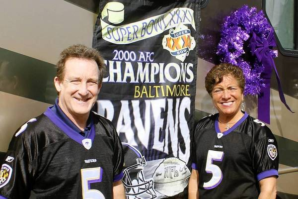Scott and Jackie Dunkel of Millersville packed up their RV and headed out to drive to the Super Bowl in New Orleans to cheer on the Ravens.