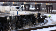Five freight cars from a Union Pacific train derailed this morning as it was pulling out of a yard in West Suburban Bellwood causing some diesel fuel to leak, police said.