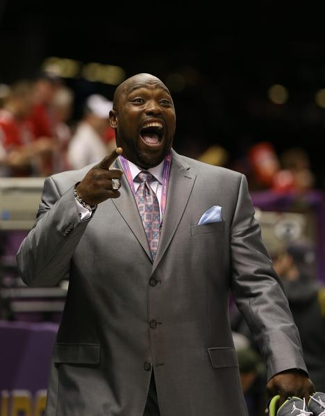 NFL former player Warren Sapp in attendance before Super Bowl XLVII between the San Francisco 49ers and the Baltimore Ravens at the Mercedes-Benz Superdome.