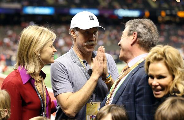 Feb 3, 2013; New Orleans, LA, USA; Actor Wil Ferrell on the sidelines before Super Bowl XLVII at the Mercedes-Benz Superdome.
