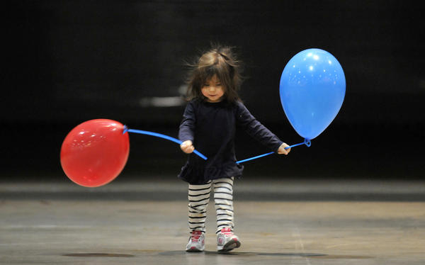 Static electricity has gotten the best of 18-month-old Brooke Niemann of Avon during the 9th Annual Big Y Kids Fair Sunday at the Connecticut Convention Center in Hartford. Brooke was there with her mom Shirine and 3-year-old sister Ainsley.