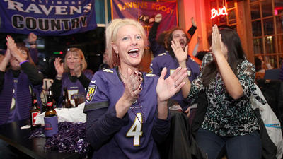 At halftime of Super Bowl, Ravens fans in Ellicott City feeling…