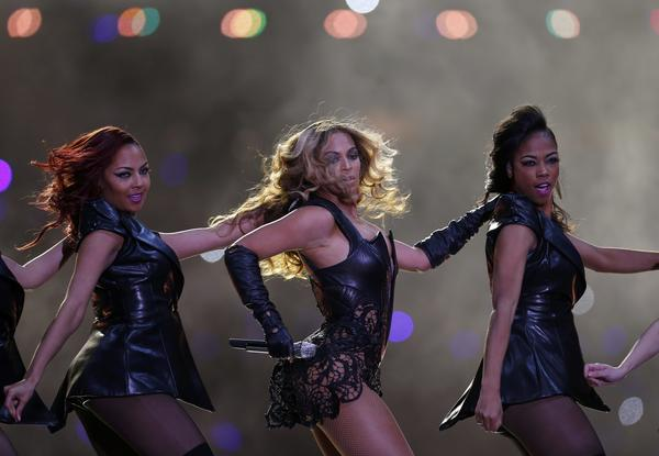 Beyonce (center) performs during the half-time show of the NFL Super Bowl XLVII football game in New Orleans, Louisiana, February 3, 2013.
