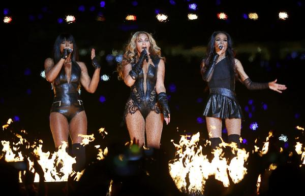 Beyonce (C) and Destiny's Child perform during the half-time show of the NFL Super Bowl XLVII football game in New Orleans, Louisiana, February 3, 2013.