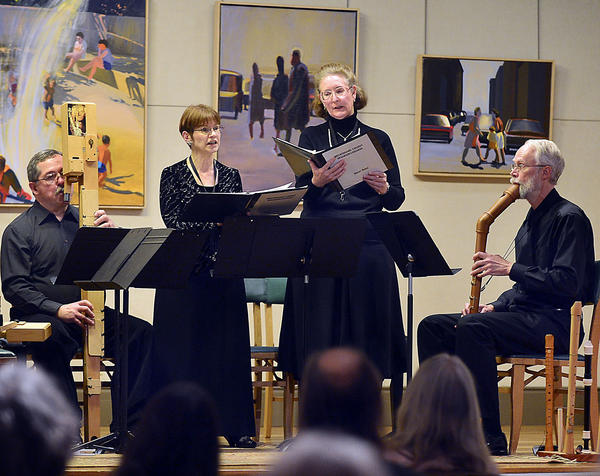 Performing on stage Sunday, from left, at the Washington County Museum of Fine Arts in Hagerstown are David Styer, Naomi Styer, Kathy Barr and Russell Johnson during Salute to the Ladies, a tribute to music about women or composed by women.