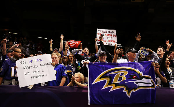 Fans of the Baltimore Ravens cheer during Super Bowl XLVII at the Mercedes-Benz Superdome on February 3, 2013 in New Orleans, Louisiana.