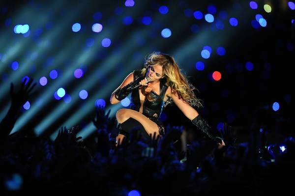 Beyonce performs during halftime of Super Bowl XLVII at the Superdome in New Orleans on Sunday.
