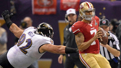 Resilient Ravens defense finds way to slow Kaepernick, beat 49ers in Super Bowl