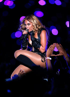 Singer Beyonce performs during the Pepsi Super Bowl XLVII Halftime Show at the Mercedes-Benz Superdome on February 3, 2013, in New Orleans, Louisiana.