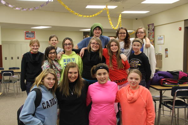 The Holgate Helpers, a group of eighth-graders, recently organized efforts to observe National No Name-Calling Week. The group leads four campaigns each year. In March, they will bring awareness to issues of tobacco use through Kick Butts Week. Back row, from left: Sydney Kost, Kasynda Eckhoff, Dominic Meyers, Ryann Ganje and Kiersten Grotjohn. Middle row: Noemi Picazo, Mikayla Deleon, Cristin Bengston, Sierra Kamin and Alice Scott. Front: Calley Wipf, McKayla Jensen, Mariah Vikander and Gabrielle Becker.