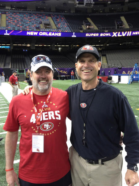 Former Webster coach Leon Breske and his family have been in New Orleans for the Super Bowl this week with son Nate Breske, a trainer for the San Francisco 49ers. Above, Leon (left) is with San Francisco coach Jim Harbaugh. Photo courtesy of Breske family
