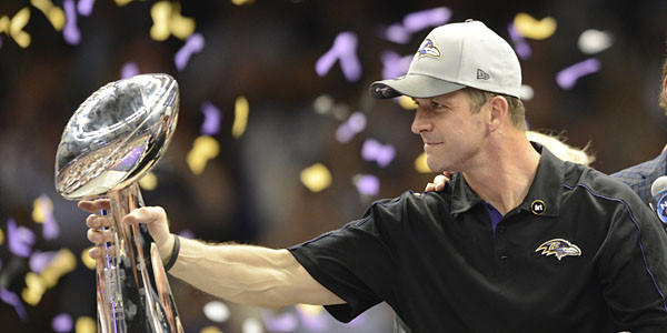 Head coach John Harbaugh of the Baltimore Ravens holds the Vince Lombardi Trophy following their 34-31 victory over the San Francisco 49ers in Super Bowl XLVII at the Mercedes-Benz Superdome.
