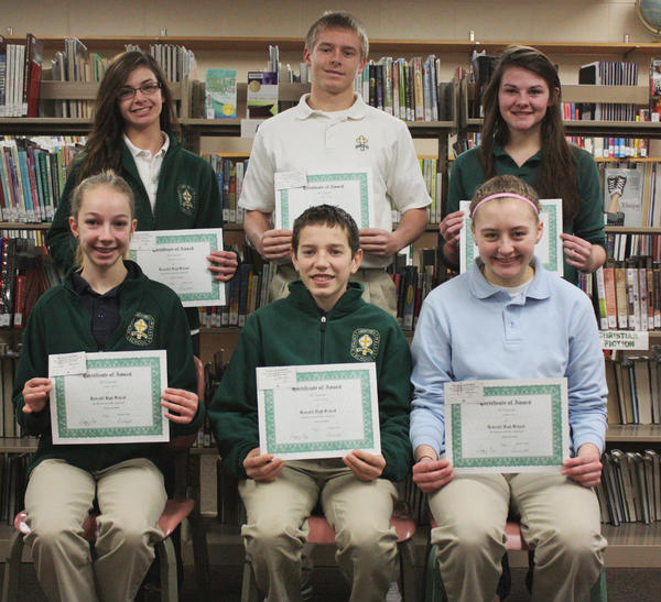 Roncalli Junior and Senior High School students of the month for December are: back row, from left: senior Kendra Woytassek, junior Layne Holzer and sophomore Hailey Kline. Front row, from left: Isabel Litzen, eighth grade; Austin Cihak, seventh grade, and freshman Amber Dix.