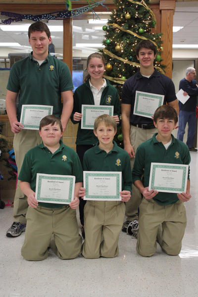 Roncalli Junior and Senior High School students of the month for November are, back row, from left: sophomore Eric Lacher, senior Kendra Hengen and junior Tyson Mitzel. Front row, from left: eighth-grader Jonathan Hanson, seventh-grader Colton Hellwig and freshman Dylan Sommers.