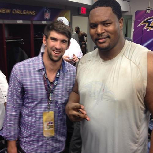 Raven Bryant McKinnie posted this photo on Instagram of Michael Phelps stopping by the locker room. (http://instagram.com/bryantmckinnie)