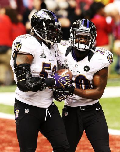 Ray Lewis (left) and Ed Reed of the Baltimore Ravens react after the San Francisco 49ers couldn't convert on a fourth down play in the final two minutes of the fourth quarter during Super Bowl XLVII at the Mercedes-Benz Superdome on Feb. 3, 2013 in New Orleans, La.